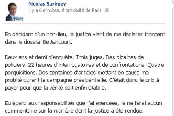 07.10 Réaction Sarkozy sur Facebook