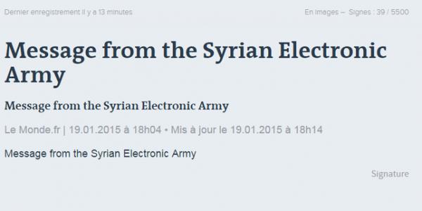 20.01 Armée électronique syrienne message