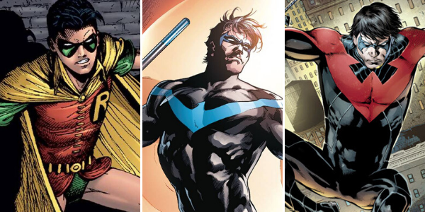 Dick Grayson a d'abord été Robin, avant de devenir Nightwing, avec deux costumes différents.