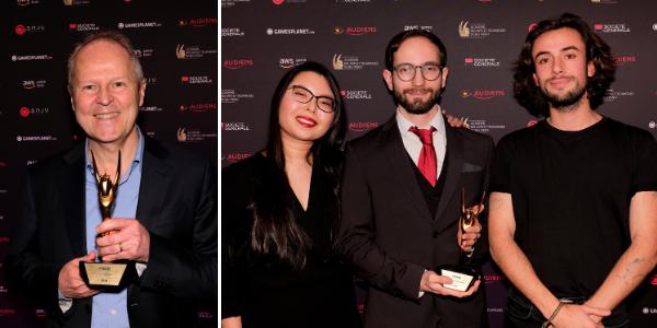 Le PDG d'Ubisoft Yves Guillemeot, et les étudiants de l'ENJMIN, récompensés d'un Pégase.