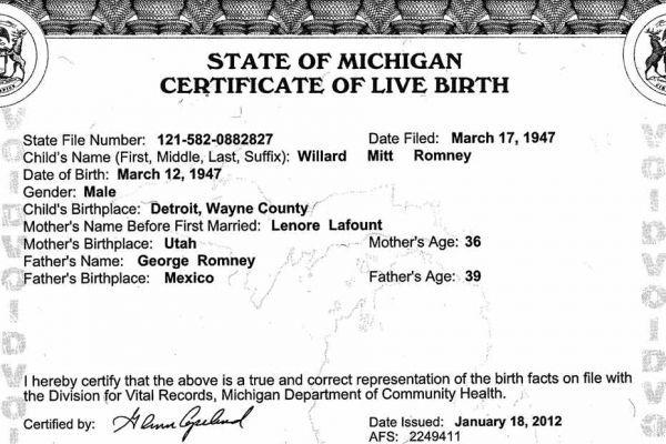acte naissance romney