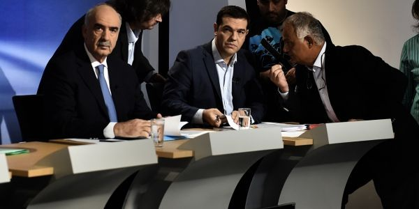ARIS MESSINIS / AFP  Alexis Tsipras et Vangelis Meimarakis