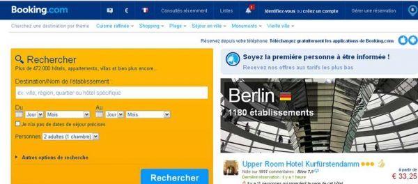 Capture d'écran homepage Booking.com