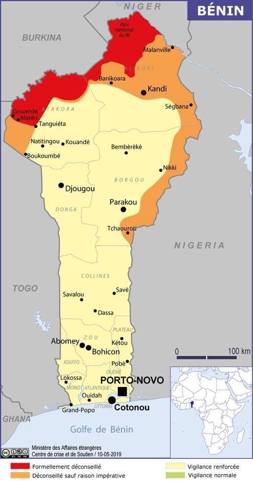 carte du Bénin crédit : Ministère des Affaires étrangères