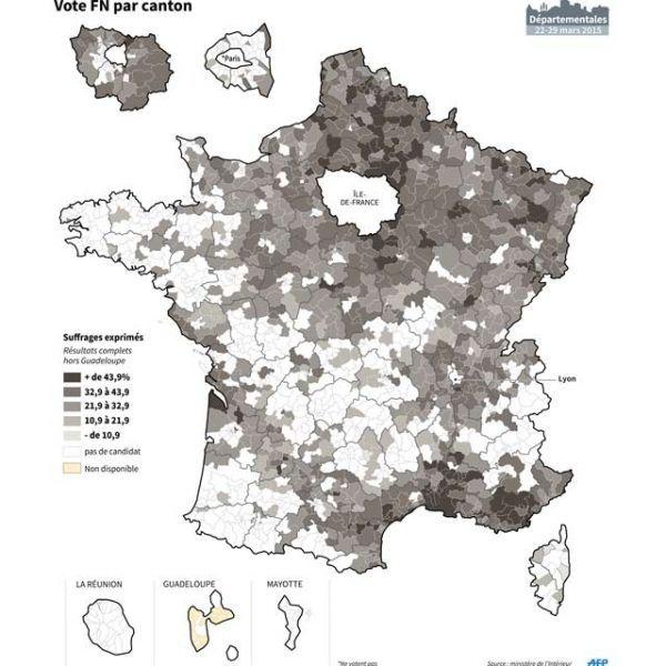 carte, vote fn, fn, départementales