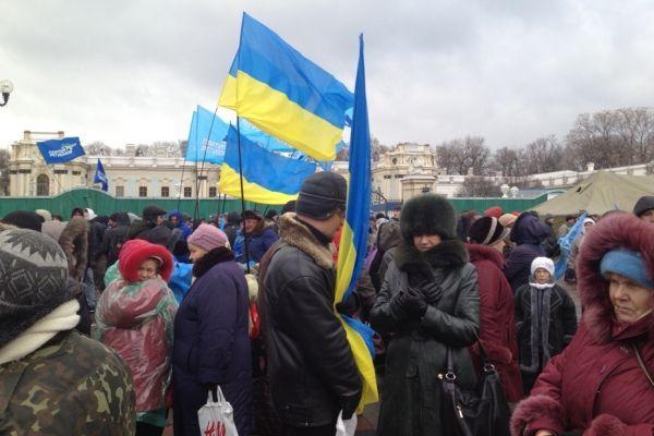 Des manifestants en faveur du président ukrainien