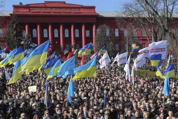 Des manifestants rassemblés à Kiev