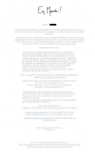 En Marche - Email adhérents