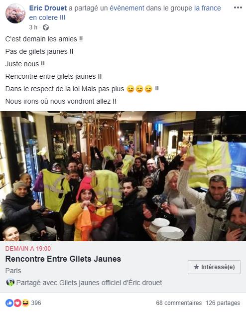 Eric Drouet a relayé un événement appelant à se réunir à Paris mercredi soir.