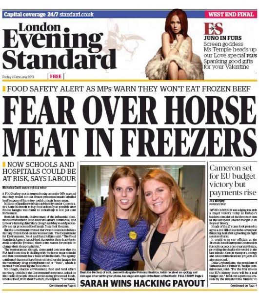 evening standard viande de cheval