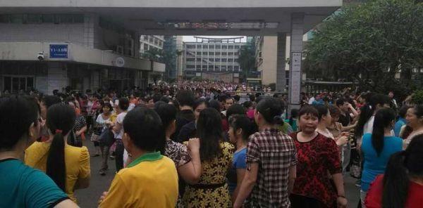 Grévistes dans une usine en Chine