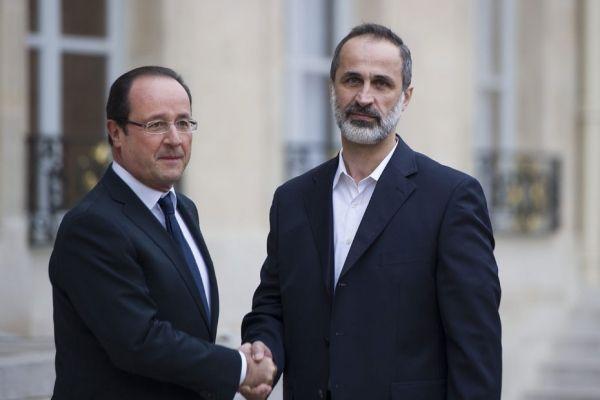 Hollande et Ahmad Moaz al-Khatib