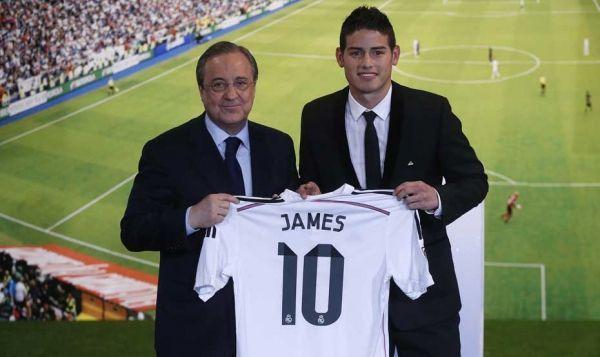 James Rodriguez avec Florentino Perez, le président du Real.