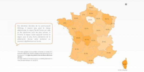 La carte de la sédentarité en France