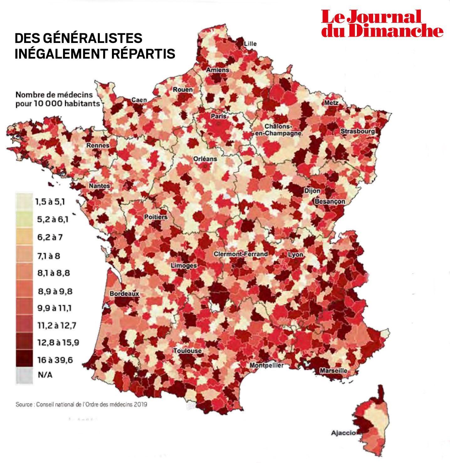 La carte des déserts médicaux en France