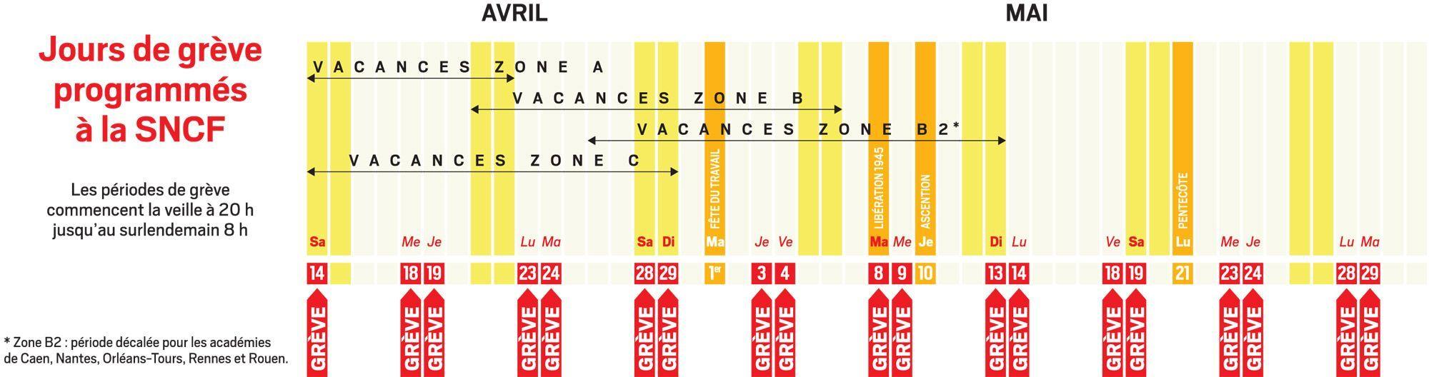 Calendrier Jour De Greve Sncf.Greve Sncf Chasse Croise Complique Pour Les Vacances De Paques