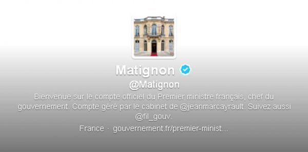 Le compte Twitter de Matignon