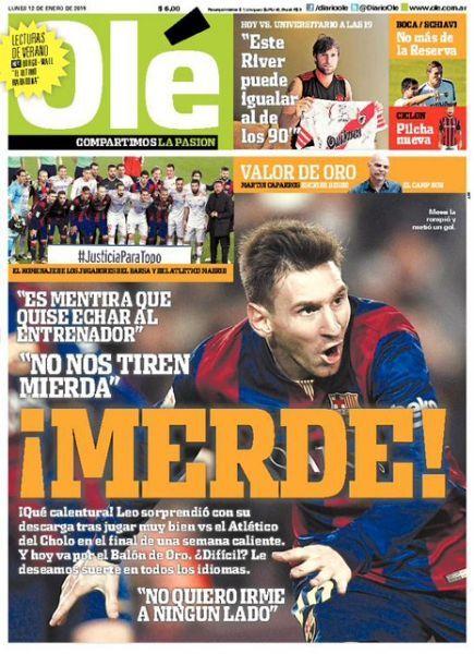 """Messi à la Une de """"Olé"""" (465x640)"""