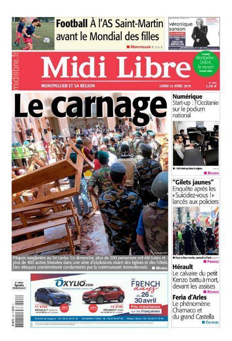 Midi Libre 22 avril crédit : Capture d'écran Midi Libre