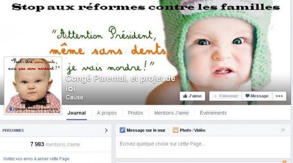Page Facebook congé parental et projet de loi