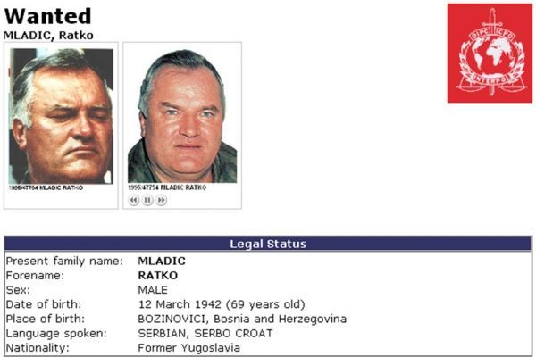 Ratko Mladic recherché wanted Interpol