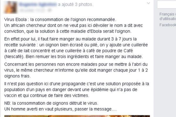 remède Facebook contre Ebola
