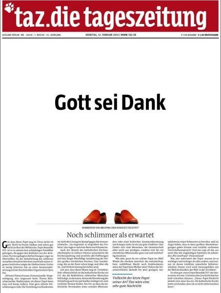 une tageszeitung pape