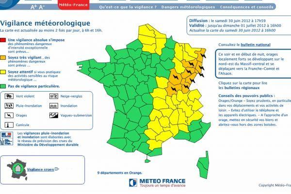 Vigilance Orange Météo france930620