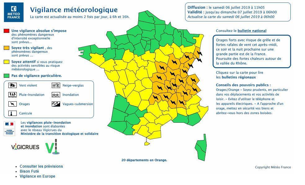 Orages : sept départements du sud-ouest en alerte orange