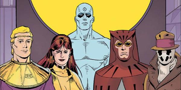 De gauche à droite, Ozymandias, le Spectre Soyeux, Dr. Manhattan, le Hibou et Rorschach.