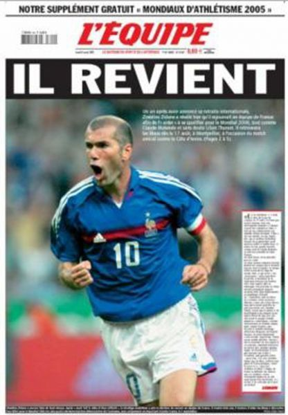 Zinédine Zidane en Une de L'equipe (930x1340)