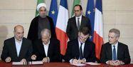 28.01.Contrat Iran Rohani Hollande.STEPHANE DE SAKUTIN  AFP.1280.640