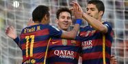 Neymar, Messi et Suarez (1280x640) Lluis GENE/AFP