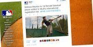 Mélissa Mayeux est la première femme à figurer sur la liste internationale de la MLB. Capture @MLB