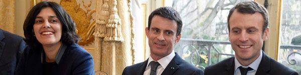 09.03.Bandeau Khomri Valls  Macron.DOMINIQUE FAGET  AFP.600.150