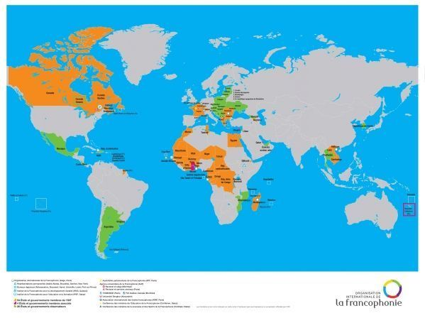Carte de la francophonie crédit : OIF