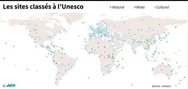 carte des  1073 biens sur la liste du patrimoine mondial de l'Unesco crédit : SIMON MALFATTO, KUN TIAN / AFP
