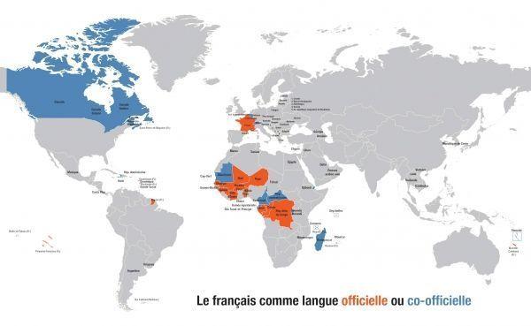 Carte du français comme langue officielle crédit : OIF