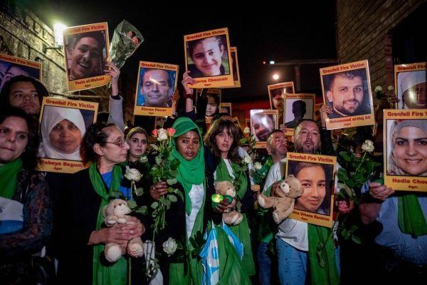 commémoration Grenfell crédit : TOLGA AKMEN / AFP