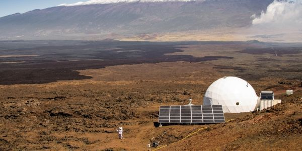 Dôme à Hawaï, mission mars, Cryprien Verseux Crédit : NEIL SCHEIBELHUT / UNIVERSITY OF HAWAII AT MANOA / AFP