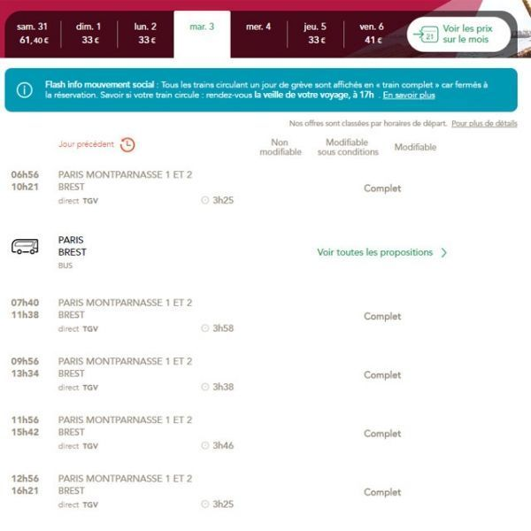 Impossible de réserver un Paris-Brest, mardi 3 avril, jour de grève à la SNCF.