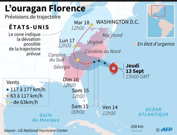 infographie ouragan Florence crédit : AFP, Sophie Ramis, Vincent LEFAI / AFP