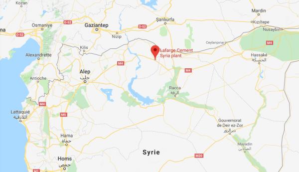 L'usine syrienne de Lafarge, fonctionnelle jusqu'en septembre 2014, était située au nord du pays. Crédits Google Maps