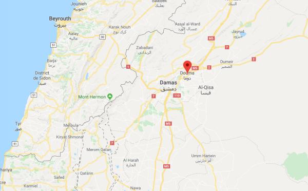 La ville de Douma est située à une quinzaine de kilomètres de Damas, au sud-ouest de la Syrie.
