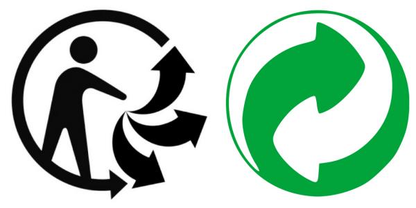 """Le logo """"Triman"""" (à gauche) sera clarifié tandis que le point vert, trop confus, sera interdit."""