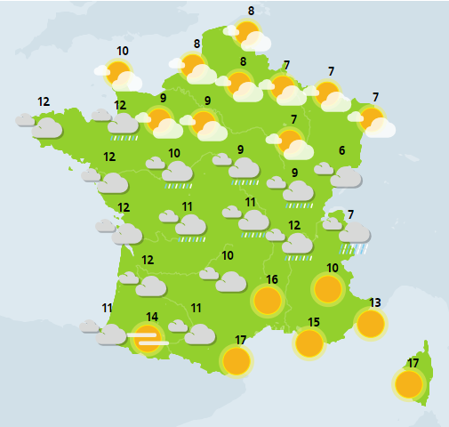 The weather of Monday, December 24: rainy of Brittany in the center