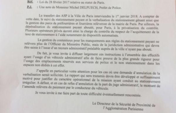 Note aux services parisiens pour le stationnement
