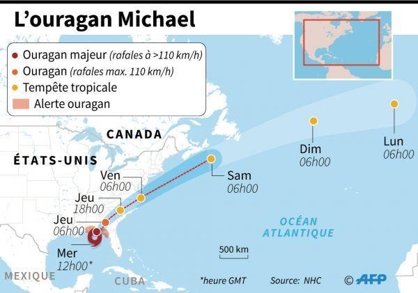 ouragan Michael, infographie crédit : VINCENT LEFAI, JONATHAN WALTER, TATIANA MAGARINOS / AFP
