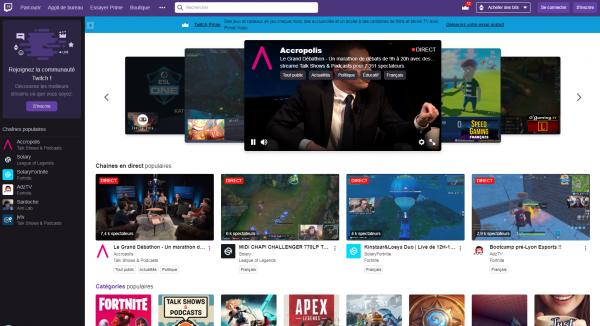 La page d'accueil de Twitch formule des recommandations basées sur les abonnements et les vidéos regardées.