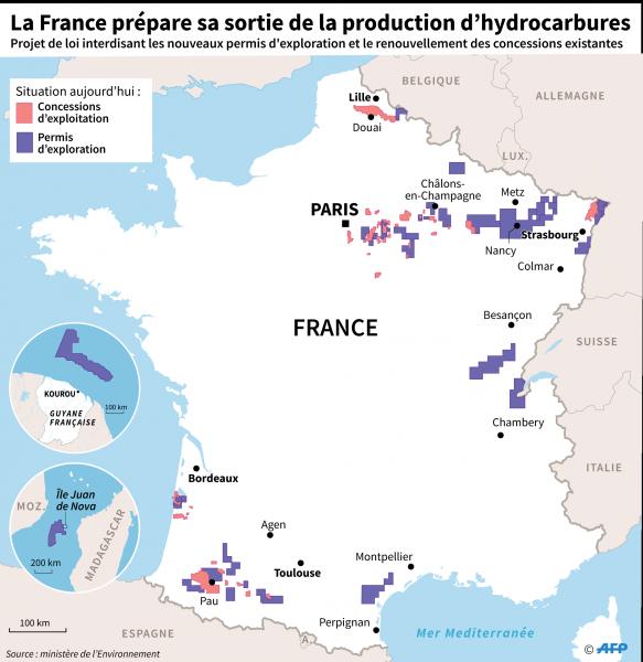 Il ne reste que 63 concessions d'exploitation hydrocarbures en France. © Simon MALFATTO, Laurence SAUBADU / AFP